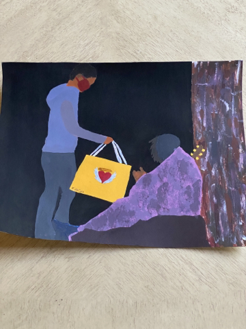 This painting is based on the needs of the transient community and the ways that the shelter in place order has made an already vulnerable situation even worse